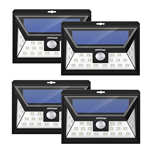 Mpow 4 Stück 24 LED Solarleuchten Weitwinkel LED Solar Wandleuchte Außen Solar Betriebene Außenleuchte, Wandleuchte, Energiesparende Wasserdichte 3 Modi Sicherheit Bewegungs-Sensor-Licht für Garten, Patio, Deck, Hof Test