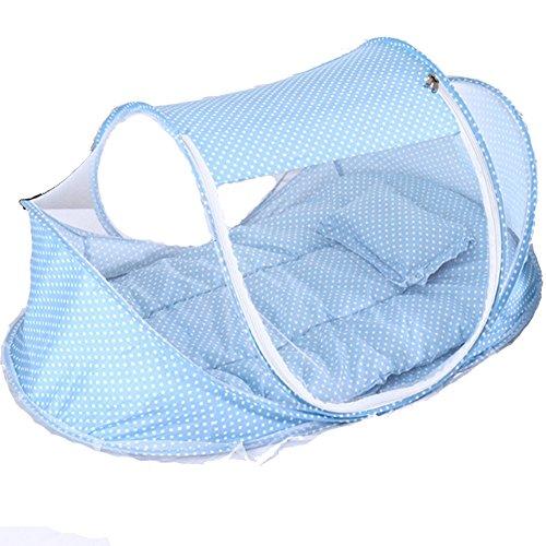 Windwelle Baby Moskitonetz 108x63x52cm Faltbar Tragbar Reisen Outdoor Babybett mit Kissen und Musikbox für 0-2 Jahre alt Baby (Blue)