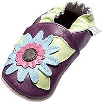 Jinwood - funky flower purple - soft sole - Blume - Hausschuhe - Lederpuschen - Krabbelschuhe - by amsomo