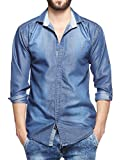 Lafantar Men's Slim Fit Casual Denim Shirt (dms43-s_Blue_small)