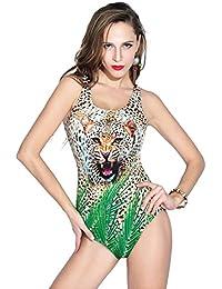 YARBAR Bañador de Mujer Estampado de leopardo, de una pieza, forma Triangular