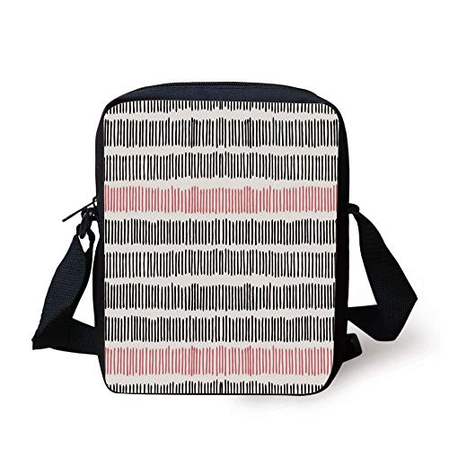 Abstract,Hand Drawn Short Vertical Lines Retro Horizontal Stripes Hipster Doodle,Black Coral White Print Kids Crossbody Messenger Bag Purse -