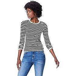 FIND Jersey de Rayas Marineras para Mujer , Multicolor (Black/white), 46 (Talla del Fabricante: XX-Large)