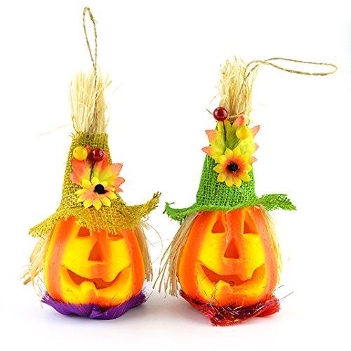 Niedlich Kürbis Licht, Rosa Schleife 2 Pack Halloween Deko Vogelscheuche Kürbis Leuchtet Led Nachtlicht Herbst dekoration für Halloween Karneval (Vogelscheuche Beste Kostüme)