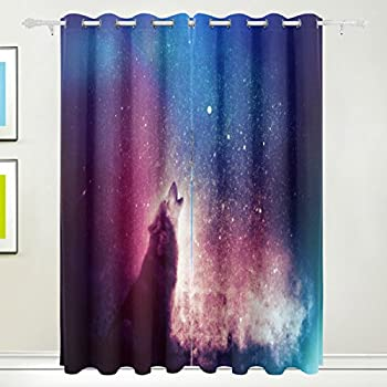 MyDaily Wolf And Starry Night Sky Thermal Insulated Blackout Grommet Window Curtains For Living Room Bedroom 2 Panels Treatments Home Decor 55x84 Inch
