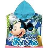 Kids Euroswan Poncho con Diseño Mickey, Algodón, Azul, 0.5x61x59 cm