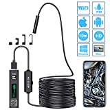 PiAEK Endoscope, WiFi d'Inspection Caméra Endoscopique 2.0 Mégapixels 1200P HD IP68 étanche, Câble Semi Rigide avec 8 LED Borescope Compatible avec Android,iOS,Mac,Tablette et Windows-10M