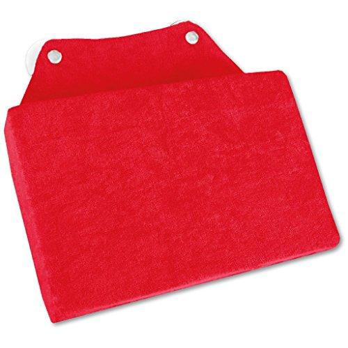 Arsvita Badewannen-Kissen mit Saugnäpfen, weicher Bezug in vielen Farben und Größen, Komfort Badekissen (16 x 25cm - Wellness Ausführung in der Farbe: rot)