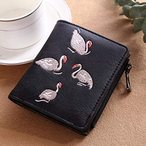 MKJGD Brieftasche Dame Exquisite White Swan Stickerei Short Style Matte Geldbörse 3 - Strauß Mit Reißverschluss Geldbörse