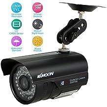 """KKmoon HD 1200TVL Cámara de Vigilancia Bala CCTV Seguridad Exterior Visión Nocturna Impermeable 1/3"""" CMOS IR-CUT PAL Sistema, Color Blanco/Negro"""
