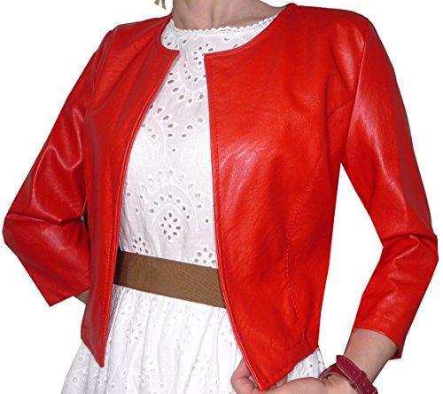 Coprispalle Eco Pelle Finta Pelle Bolerò Blaser Elegante Casual Donna Ragazza Manica 3/4 Colorati(Rosso)