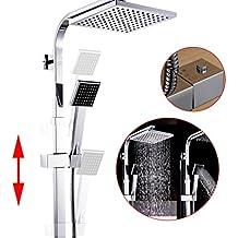 """Columna ducha termostatica,Auralum® 8 """"Set de ducha cuadrado termostatico con ducha mango + alcachofa ducha lluvia cuadrada + ducha termostatica para ducha de baño en latón,altura se puede ajustar"""