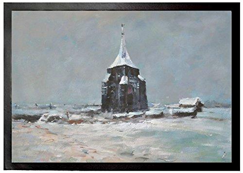 Preisvergleich Produktbild 1art1 94885 Vincent Van Gogh - Der Alte Friedhofsturm In Nuenen Im Schnee, 1885 Fußmatte Türmatte 70 x 50 cm