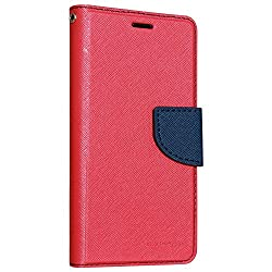 Classico Universal New Luxury Mercury Wallet Card Dairy Slot Style Flip Cover Compatible For Acer Liquid Z220 (Pink)