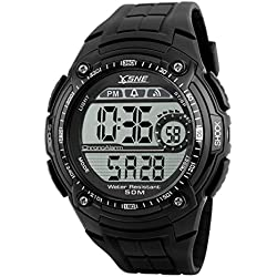 SNE Men's Digital Sports Multi Function Electronic Waterproof Big Dial Wrist Watch Black SK1203