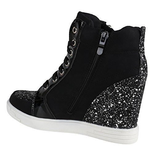 Stiefelparadies Sportliche Damen Sneakers Sneaker Wedges Glitzer Lochung Keilabsatz Schuhe Wedge Sportschuhe Flandell Schwarz Lack Glitzer