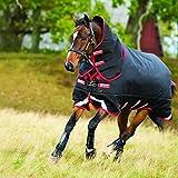 Horseware Rambo suprema de cobertura pour cheval à divanes superposées et couvre-Cou amovible Noir/Rouge 450 G 115 115115
