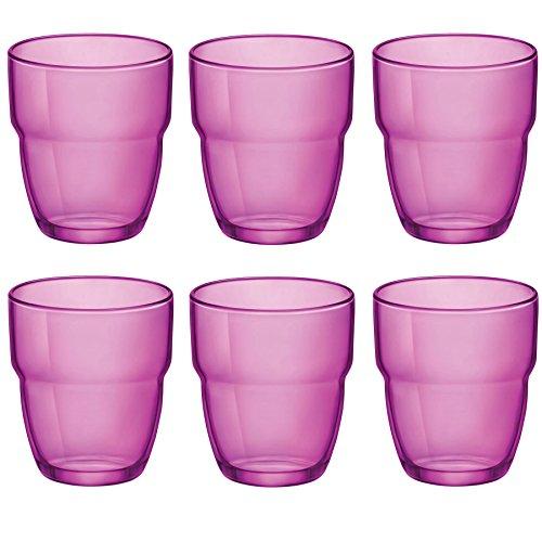 Verres Tumblers empilables Modulo - pour eau/jus - 305 ml - rose - lot de 6