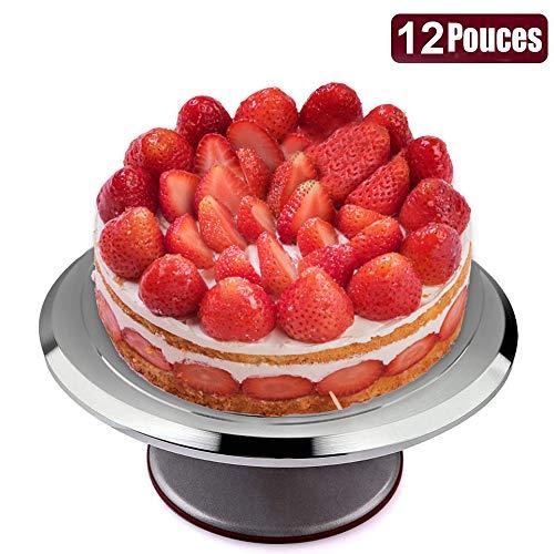 Característica: 1. Gran tamaño del estante de la torta: la bandeja de la torta es 12 pulgadas y usted puede hacer los pasteles de 8/9/10-inch muy fácilmente y correctamente. 2. Buena estabilidad: la base del molde de la torta tiene un caucho antidesl...