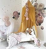 Ghope Baby Chiffon Baldachin Kinderbett Kuppel Chiffon Betthimmel Moskitonetz Spielzelt für Baby Ankleidezimmer Innen im Freienspiel Lese Schlafzimmer 240CM