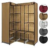 Eck-Kleiderschrank Stoffschrank Faltschrank KOANA 169 x 130 x 45 cm in vielen Farben mit 12 Fächern und 2 Kleiderstangen, Farbe:Cappuccinobeige