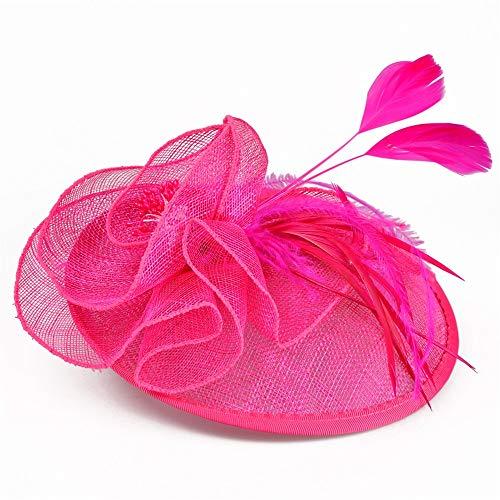 Arielflora-Accessories Fascinators Hut Große Blume Stirnband Party Girl Fascinator Headwear Cocktail Hut Kopf Dekoration Teeparty Für Royal Ascot Cocktail (Color : Rose red) -