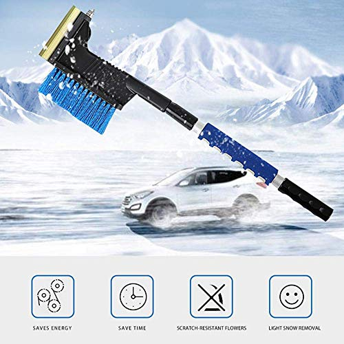 CWeep Removing Snow Removal Kit, 3-In-1 Car Snow Brush Kit with Retractable Sponge Handle for Removing Stubborn Ice and Snow, Include Ice Pick, Shovel, and Brush