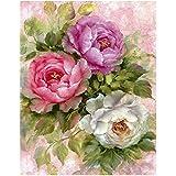 Tomtopp 40x30cm 5D Diamond DIY Flowers Painting Cross Stitch Needlework Craft Decor