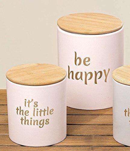 Vorratsdose Set 'Happy Rosa oder Grau' mit Holzdeckel groß Steingut Keramik Aufbewahrungsdose...