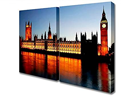 Two Panel Reflections Of London Houses Of Parliament Night Lights Canvas Art Prints - Extra Large 32 x 64 inches