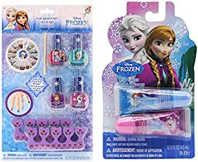 Disney Frozen Beauty Bundles For Kids - 2 Items : Disney Frozen Nail Design Set, Disney Frozen Lip Gloss - Two Pack