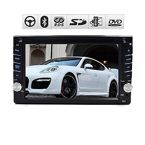 en Tableau de bord vidéo stéréo 15,7cm numérique LCD écran tactile Two-din lecteur DVD de voiture Bluetooth FM/AM radio RDS câble pour volant SD/USB/FM/AM radio Autoradio Car PC en Dash