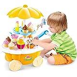 Toyshine Ice Cream Kitchen Play Cart Kitchen Set Toy with Lights and Music, Yellow