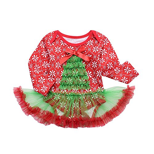 ZIYOU Baby Mädchen Christmas Kleid und Stirnband Cute Spielanzug(3~18 Monate) (3M, (1950 Niedlich Kostüme)
