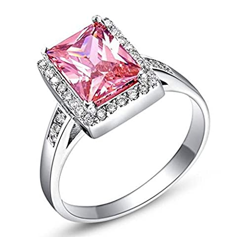 KnSam Damen Platin Plattiert Verlobungsringe Quadratische Pink Größe 57 (18.1) Crystal Zirkonia [Neuheit Ringe]