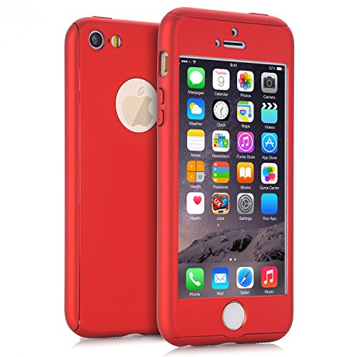 iPhone 5 Hüllen, iPhone 5s Fall, iPhone SE Fall, Viral Protein R 2 in 1 Ultra Dünn 360 Full Body Schutz Hard Premium Luxus Cover Stoßdämpfung griffsicheres PC Case für Apple iPhone 5 5S SE, Rot (Protector 5s Pink Screen)