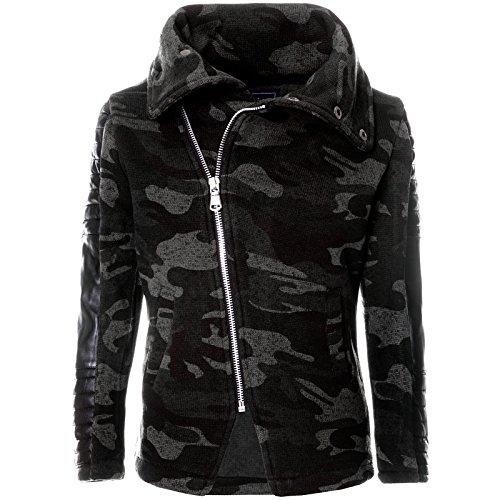 Kinder Pullover Schalkragen Pullover Hoodie Zipper Sweatshirt Sweatjacke 21652, Farbe:Grau, Größe:128