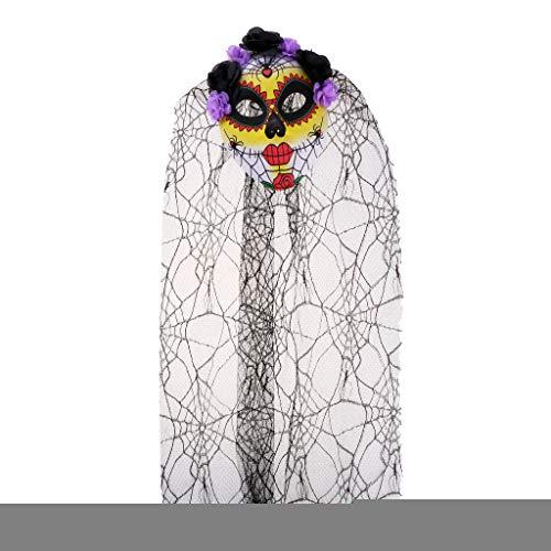 Der Lila Toten Tag Kostüm - Hellery Damen Zombie Leiche Braut Maske Halloween Tag Der Toten Kostüm - Lila