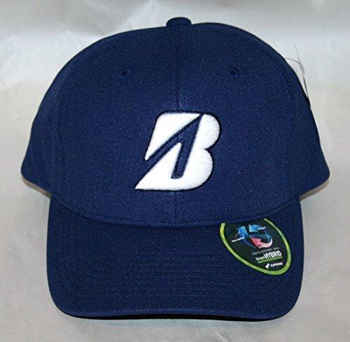 new-bridgestone-water-repel-navy-blue-white-adjustable-hat-cap-by-bridgestone