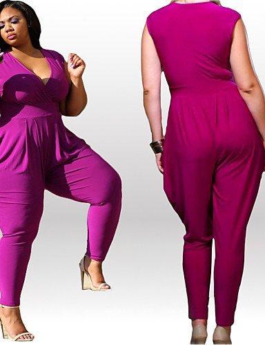 GSP-Combinaisons Aux femmes Sans Manches Sexy / Grandes Tailles Spandex Moyen Elastique purple-3xl