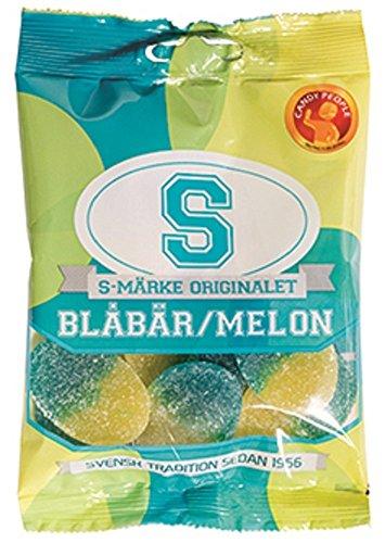 Candy People S-Märke Blabar/Melon - Blaubeere/Melone - Schwedisch Weingummi Süßigkeiten 80g x 2...