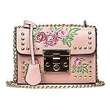 QinMM Damen Messenger Bags Stickerei Rose Crossbody Umhängetaschen Kette Körper Taschen Kleine Körper Taschen Geldbörse Stilvolle Schwarz Rosa Weiß (Rosa)