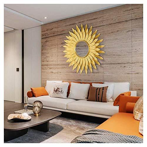 XM-MIRROR Sunburst Wandspiegel, Runde große Metall Starburst dekorative Wandspiegel, Esszimmer, Wohnzimmer, Flur Veranda hängenden Spiegel,Gold,83x83cm