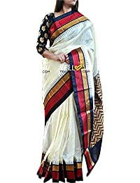 Shreeji Ethnic Sarees For Women Embroidered Half And Half Bhagalpuri Saree With Blouse Piece Material For Party...