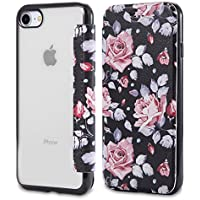 Snewill Funda iPhone 8,Funda iPhone 7, Slim PU Leather Folio Flip Wallet Case with Card Slot & Clear Soft TPU Back Cover for Apple iPhone 8/7-Rose Flower