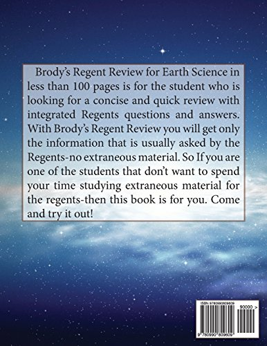 Brodys Regents Review: Earth Science 2015: Regents Review in less than 100 pages (Brodys Regent Review)