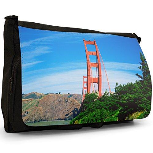 Fancy A Bag Borsa Messenger nero Golden Gate Bridge San Francisco Golden Gate Bridge San Francisco