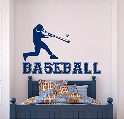 Wuyyii Baseball Wandtattoo Sport Vinyl Aufkleber Baseball-Spieler Gym Wandtattoo Jugendliche Kinder Jungen Zimmer College Wandkunst Home Mural -