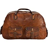 Last DAY - SALE Clearance 2019! Shakun Leather Handmade New Vintage Travel Duffel Shoulder Gym Weekend Bag, NEW, 100% Pure Leather with Free Shipping
