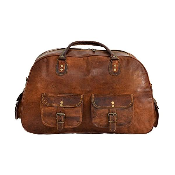 Last DAY – SALE Clearance 2019! Shakun Leather Handmade New Vintage Travel Duffel Shoulder Gym Weekend Bag, NEW, 100% Pure Leather with Free Shipping 51ESS6ejBKL